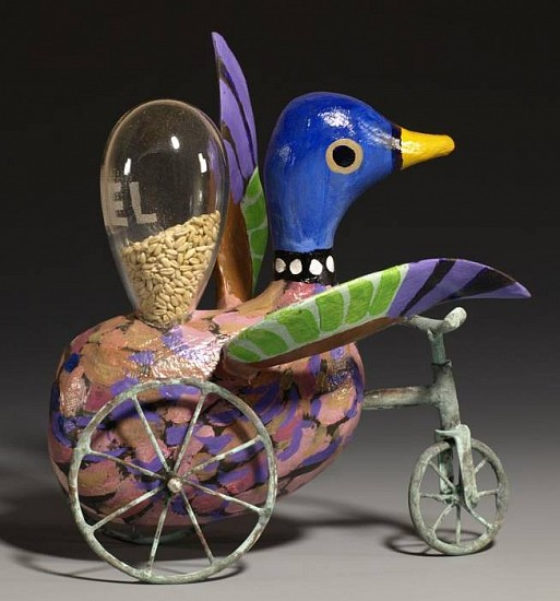 Harold Balazs, Disabled Duck Turning Right 2008, wood, glass, wheat, copper, paint