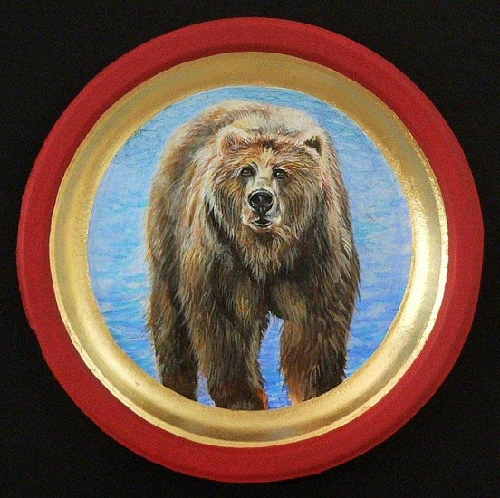 Mary Frances Dondelinger, Grizzly Bear, Threatened 2013, egg tempera, 23 c. gold, acrylic