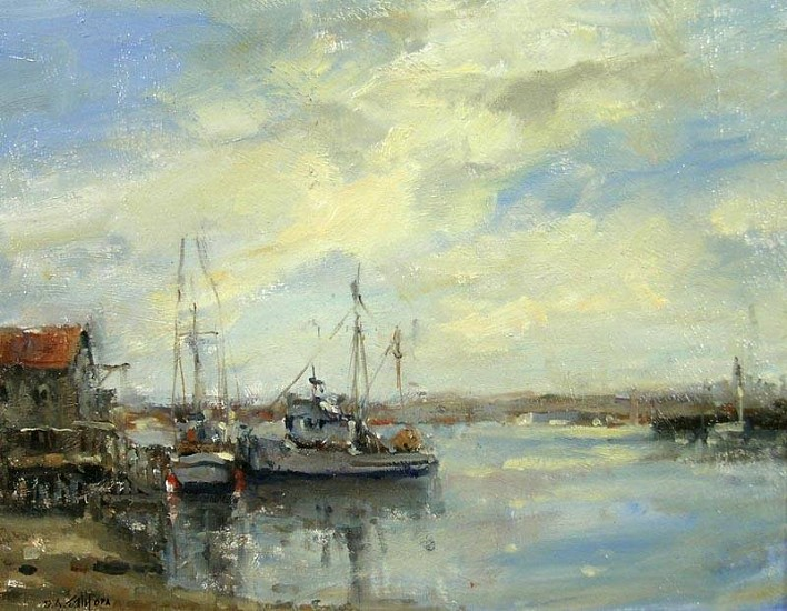 Don Ealy, Fishing Boats at La Conner oil on panel