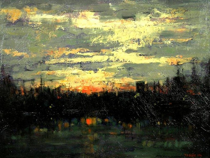Don Ealy, Eureka at Sunset oil on panel