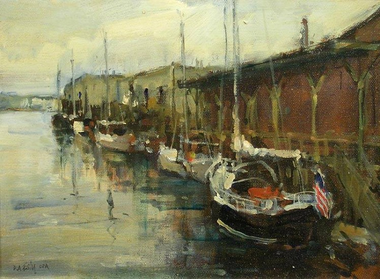 Don Ealy, Boats at the Warf oil on canvas