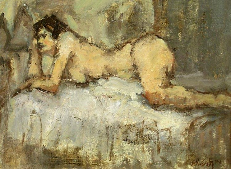 Don Ealy, Reclining Nude oil on panel