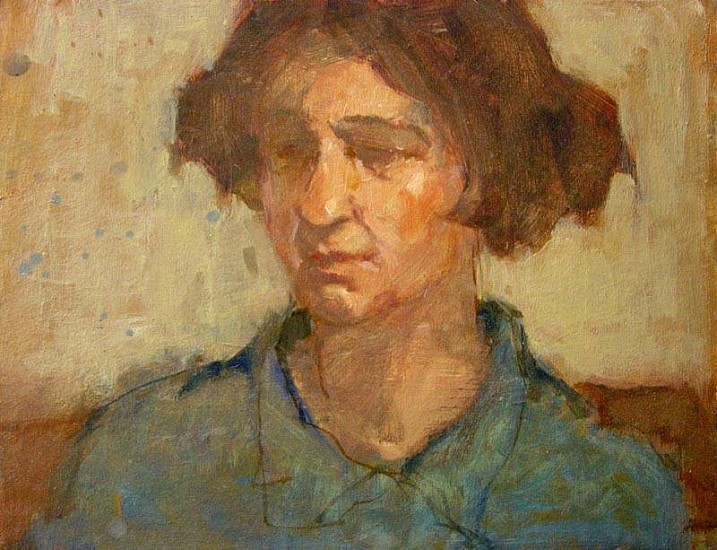 Don Ealy, Woman in Blue oil on masonite