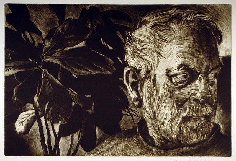 Mary Farrell, Fig 2011, messotint, drypoint