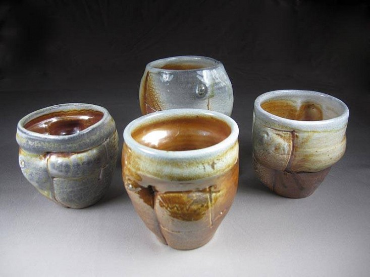 Gina Freuen, Compositional Cups - Set of 4 2011, porcelain/wood & soda fired