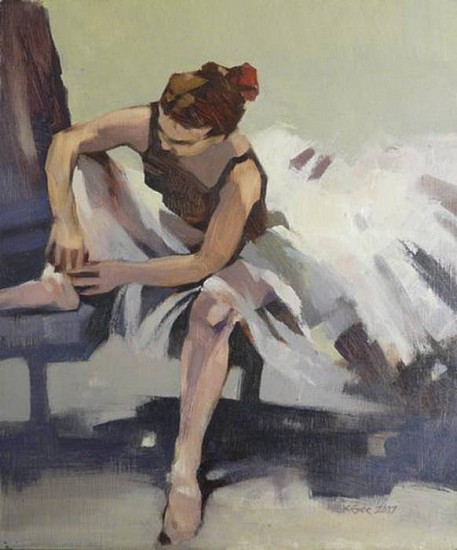 Kathy Gale, Tying Her Ribbons 2008, oil on board