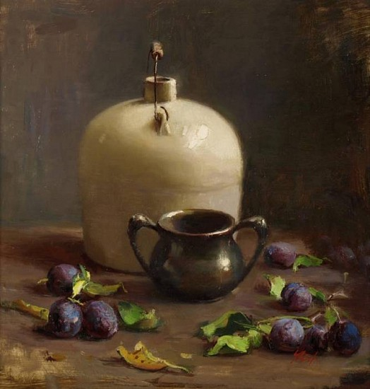 Del Gish, Still Life with Plums oil on panel