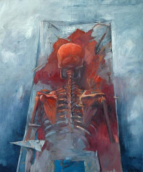 Robert Grimes, Skeleton in Red 1991, oil on canvas