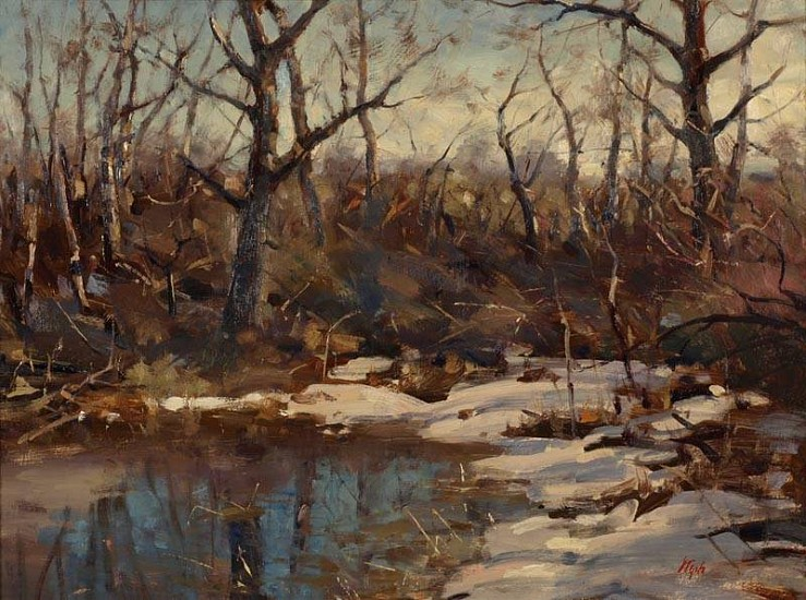 Del Gish, Winter Thaw oil on panel
