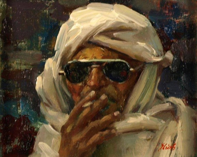 Del Gish, Man with Cigarette oil on canvas
