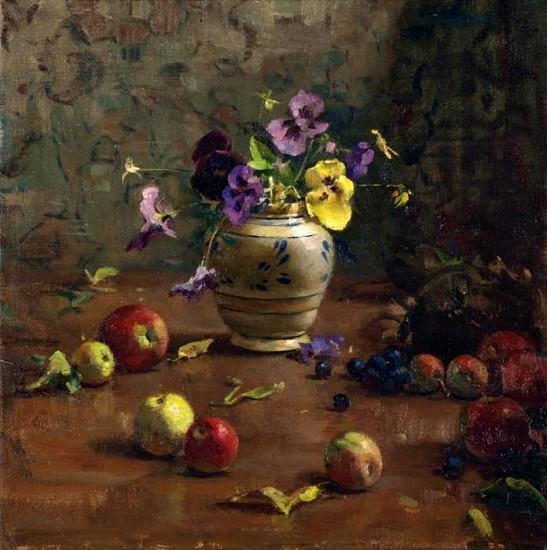 Del Gish, Apples and Pansies oil on linen