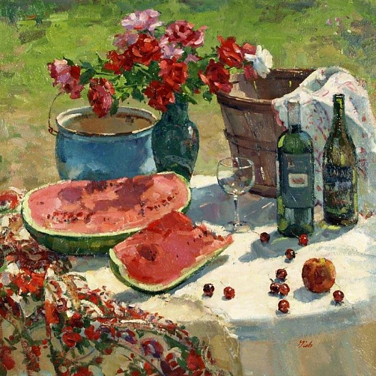 Del Gish, Still Life with Watermelon oil on linen