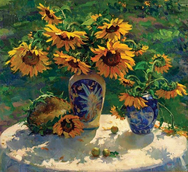 Del Gish, Still Life with Sunflowers oil on linen