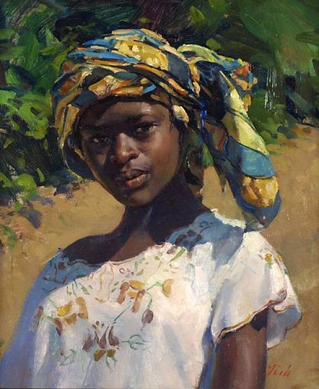 Del Gish, Girl with Head Scarf oil on panel