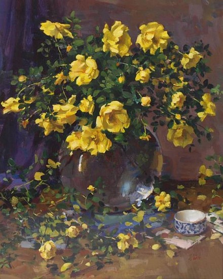 Del Gish, Yellow Roses from the Garden water media