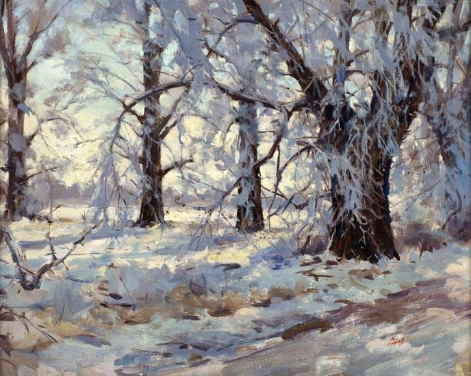 Del Gish, Cottonwoods in Snow oil on panel