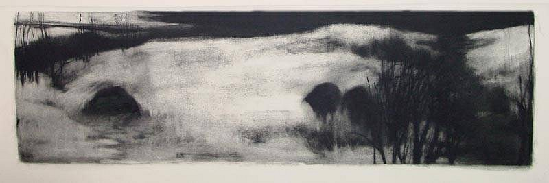 Elaine Green, Creek 2004, charcoal on watercolor paper