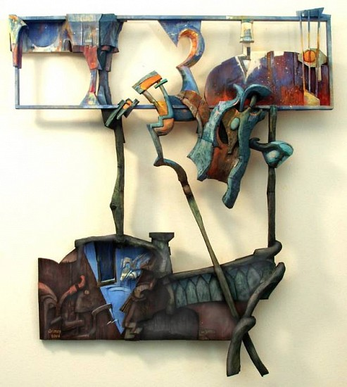 Robert Grimes, A Fall From Grace 2004, oil on carved wood