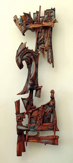 "Robert Grimes, ""A Hunting We Will Go"" 2006, oil on carved wood"
