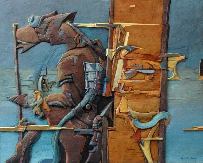 Robert Grimes, Watch Dog 2006, oil on carved wood