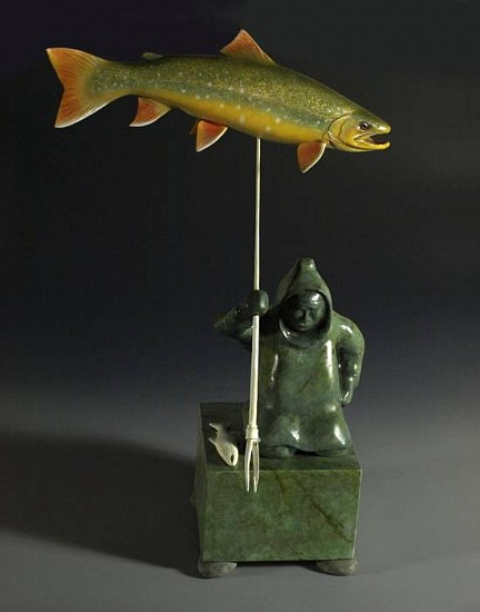 Vick Haight, Arctic Char and Eskimo carved wood with acrylic and lacquer