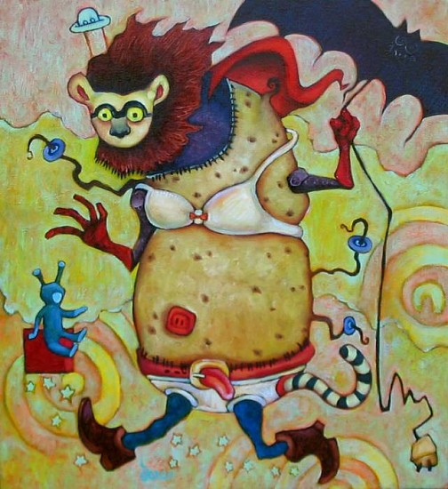 Dara Harvey, Potatoe Lemur as Super Hero 2006, oil on canvas