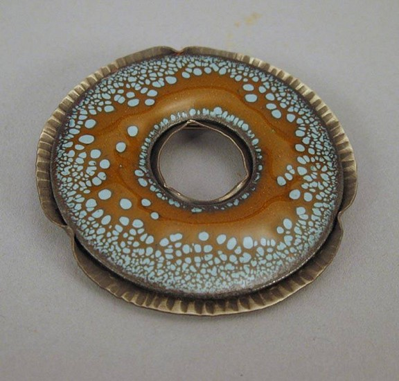 Lynne Hull, Spotted Donut Brooch 1 enamel on nickel