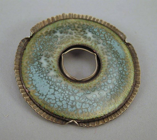 Lynne Hull, Motley Donut Brooch 1 enamel on copper/nickel