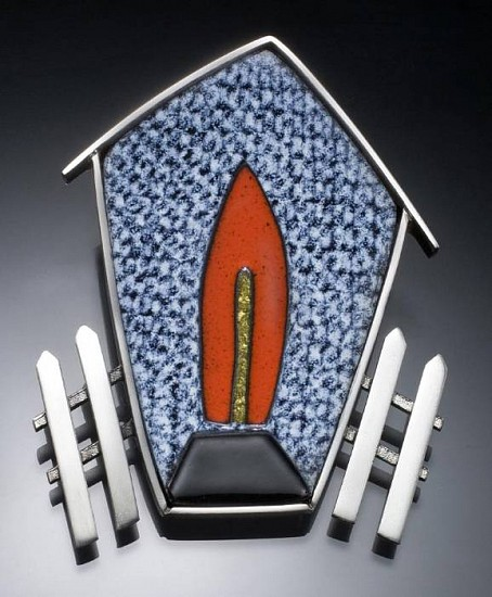 Barbara Minor, House with Fence - pin/pendant enamel, silver