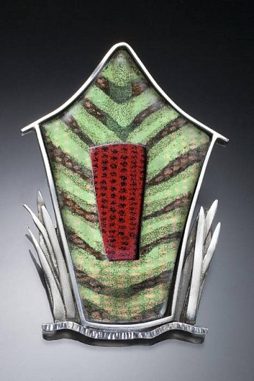 Barbara Minor, House with Grass - pin/pendant enamel, silver