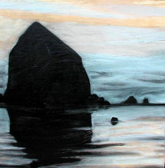 Katherine Nelson, Haystack at Dusk I 2005, charcoal on plywood with cold wax