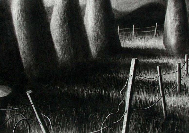 Katherine Nelson, Broken Fence 2005, charcoal and pastel on paper
