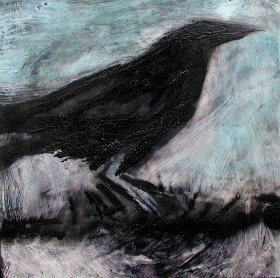 Katherine Nelson, Raven Scratching Ground 2005, encaustic