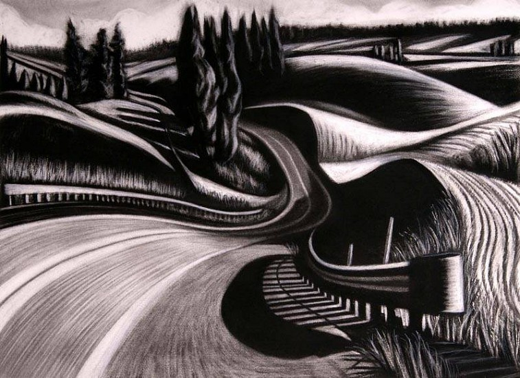 Katherine Nelson, The Deep Bend in the Road 2007, charcoal & pastel