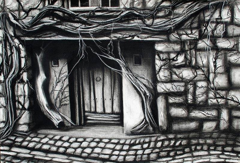Katherine Nelson, Door to the Old World 2009, charcoal & pastel