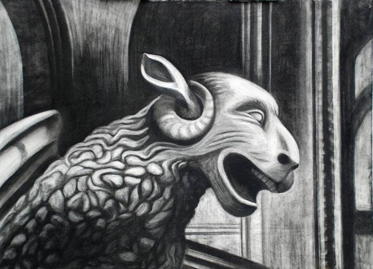 Katherine Nelson, Laughing Ram 2009, charcoal on grey paper