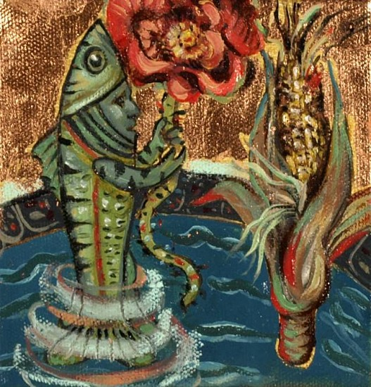 Kay O'Rourke, Fish God 2010, oil on canvas