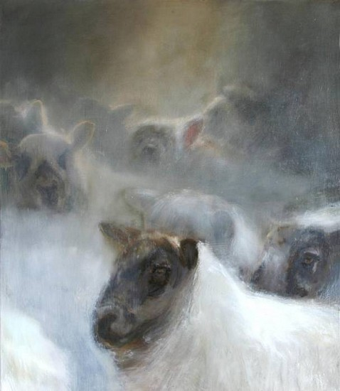 Claudia Pettis, Sheep in the Gap - Flock Snowed 2009, oil on linen