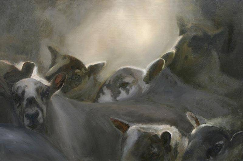 Claudia Pettis, Sheep in the Gap - Horizontal 2010, oil on linen