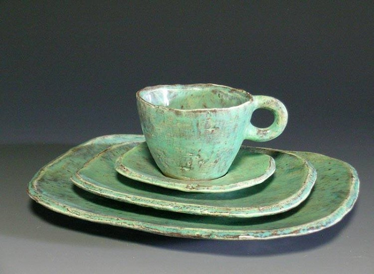 Joseph Pintz, Blue Green Place Setting (dinner plate, dessert plate, cup and saucer) 2007, earthenware