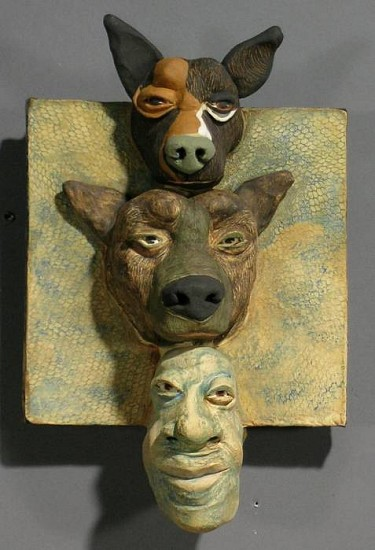 Susan Rooke, Top Dog 2007, clay with underglazes