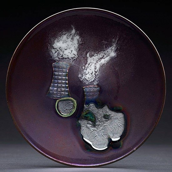 Averill Shepps, Nuclear Plant Cooling Towers 2010, enamel on copper,copper foil,cat hair