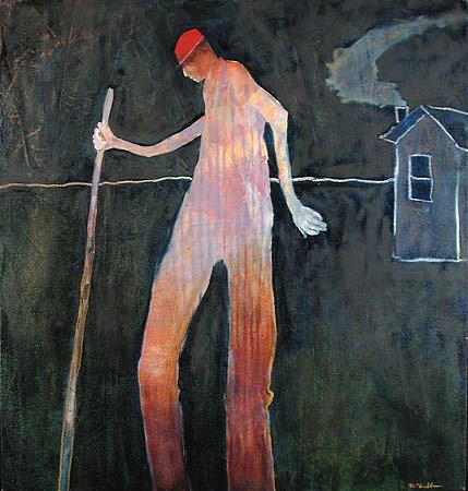 Mel McCuddin, Man on Stilts oil on canvas