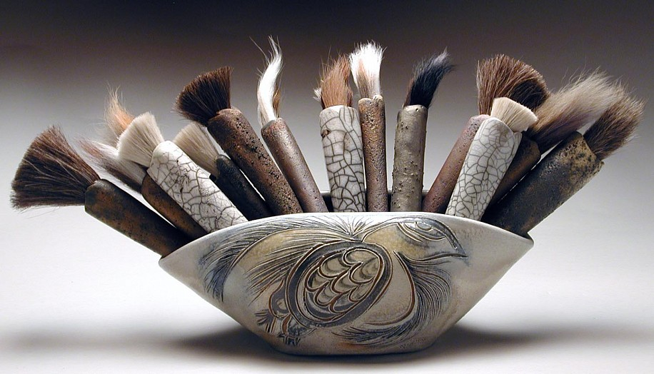 Glenn Grishkoff, Raven Brush Bouquet 2005, wood fired, deer & horse hair