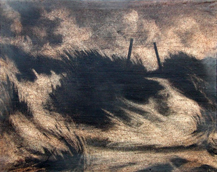 Katherine Nelson, Oregon Dunes II 2005, charcoal, oil and encaustic wax on wood