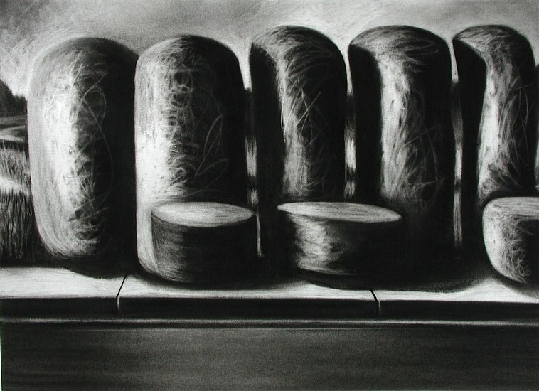 Katherine Nelson, Five Tall Ones 2005, charcoal on paper