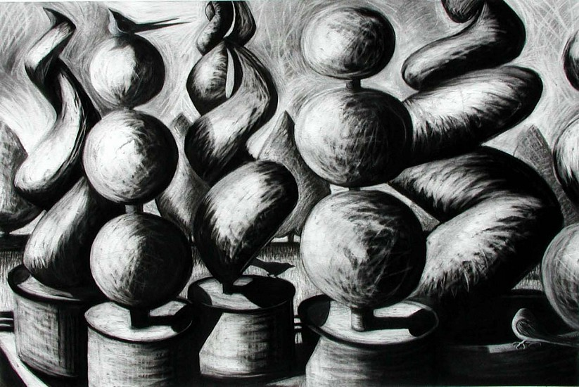 Katherine Nelson, Globes & Twists 2005, charcoal on paper