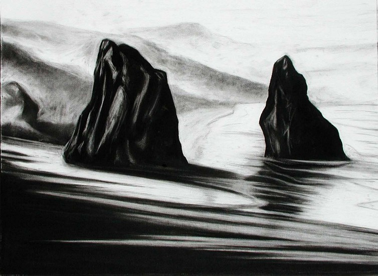 Katherine Nelson, Rocks Reflected in Wet Sand II 2005, charcoal on paper