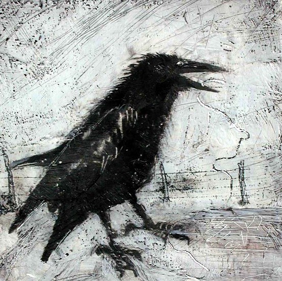 Katherine Nelson, Raven with Silver Thread 2005, encaustic wax, charcoal, oil paint, silver leaf on box