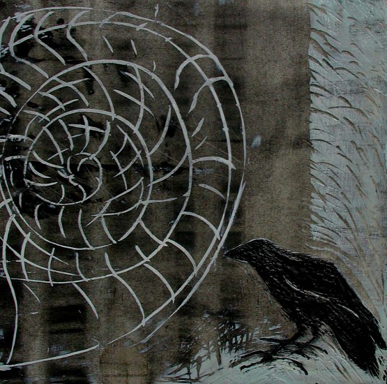 Katherine Nelson, The Raven and the Nautilus 2005, charcoal on paper with encaustic wax